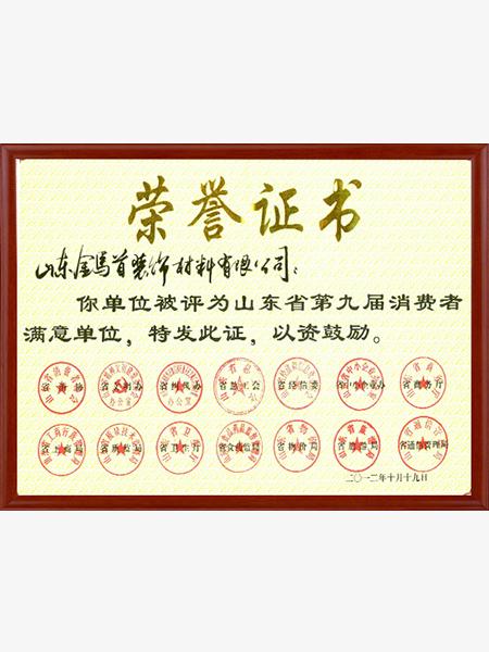 山东省第九届满意单位荣誉证书