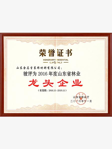 山东省林业龙头企业证书
